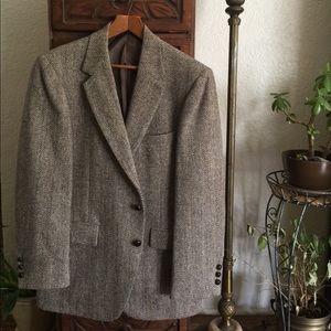 Harris Tweed herringbone stripe 100% wool blazer